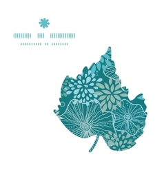 Blue and gray plants leaf silhouette pattern frame vector