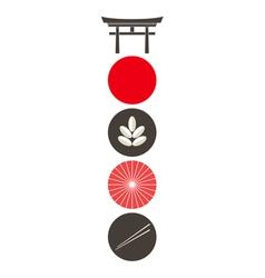 Japan icon set vector