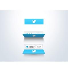 Social media follow button and counter vector