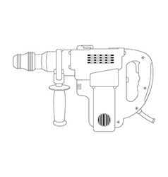Big electric hammer drill contour vector