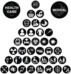 Medical and health care icon collection vector