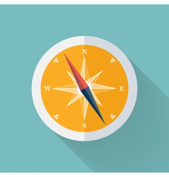 Yellow compass flat icon over mint vector