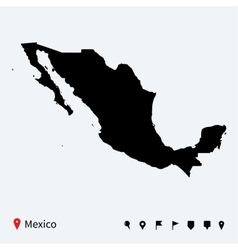 High detailed map of mexico with navigation pins vector