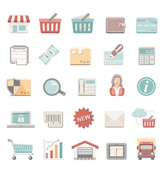 Flat icons shopping vector