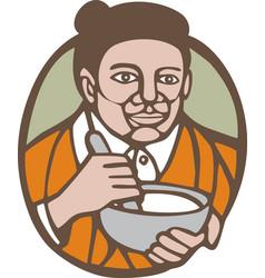 Granny cook mixing bowl oval retro vector