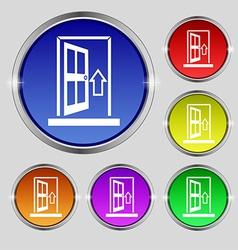 Door enter or exit icon sign round symbol on vector