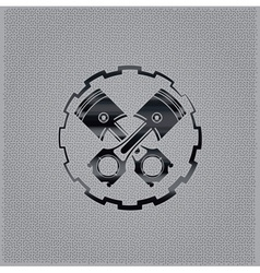 Pistons in a gear on metal background vector