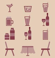 Drinks icons set in restaurant vector