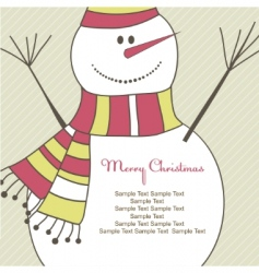 Christmas card with snowman illustration vector