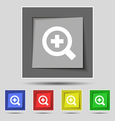 Magnifier glass zoom tool icon sign on the vector