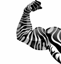 Power hand with zebra tattoo vector