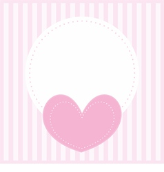 Valentines card with pink heart and white place vector