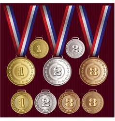 Set of patterns medals of gold silver bronze vector