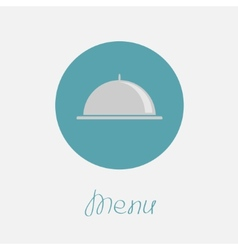 Silver platter cloche circle icon flat design menu vector