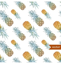 Watercolor tropical pineapple exotic pattern vector