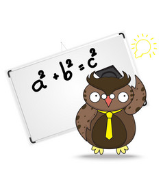 Cartoon wise owl in graduation cap and whiteboard vector