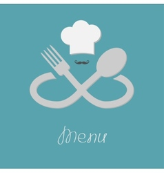 Big fork spoon infinity sign chef hat and mustache vector