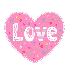 Love lettering decorative heart vector