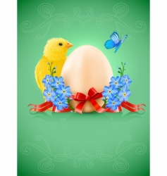 Easter card with egg chicken vector