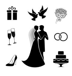 Wedding icon collection isolated on white vector