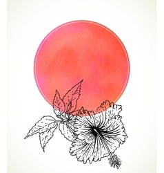 Card with hibiscus on pink watercolor vector