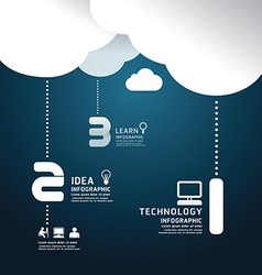 Infographic technology cloud paper cut style vector