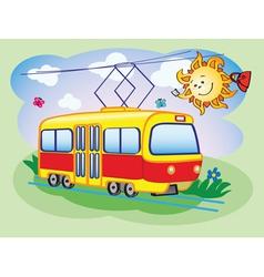Fun tram and the sun vector