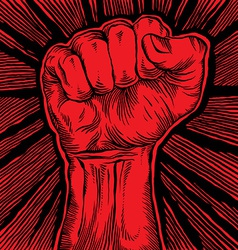 Clenched fist held high in protest vector