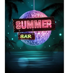 Summer disco background disco poster vector
