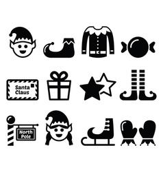 Elf christmas icons set vector