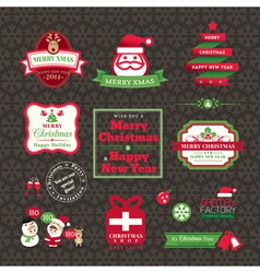 Set of christmas labels and frames design vector