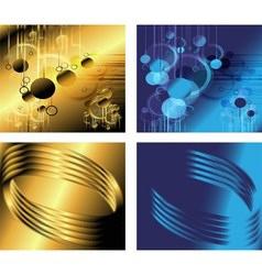 Golden and blue backgrounds set vector
