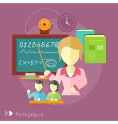 Pretty teacher with a pointer vector