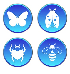 Insects round button flat icons set vector
