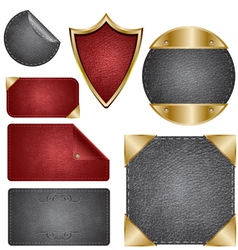 Leather design elements vector