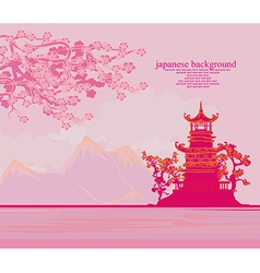 Chinese old building on abstract asian landscape vector