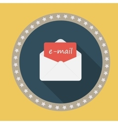 E-mail flat icon with long shadow vector