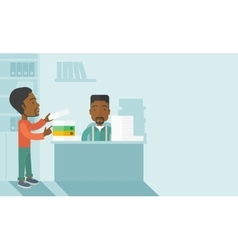 Two black office clerk inside the office vector