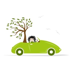 Woman carry tree by green car for your design vector