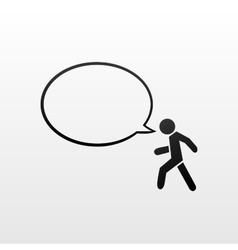 Pedestrian symbol and speech bubble vector