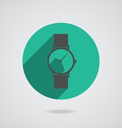 Flat long shadow icon wristwatch vector