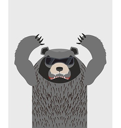 Angry grizzly bear with glasses vector