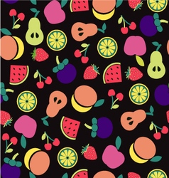 Fruit pattern on black background vector