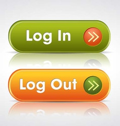Login and log out buttons vector