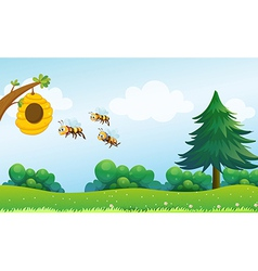 A beehive above the hill with three bees vector