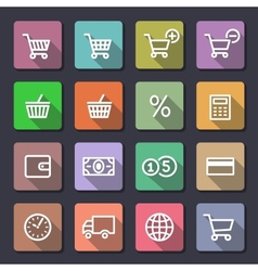 Shopping icons set flaticons series vector