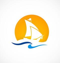 Yacht boat ocean logo vector