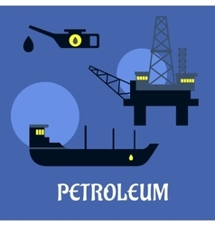 Petroleum industry flat infographics icons vector
