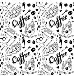 Coffee seamless pattern in tattoo style vector