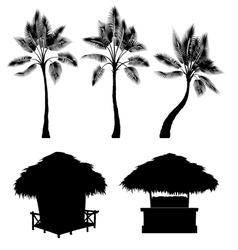 Tropical bungalow and palm isolated drawin vector